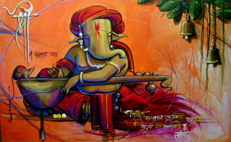 Ganesha painting on canvas | Ganesha wall art | Ganesha ...