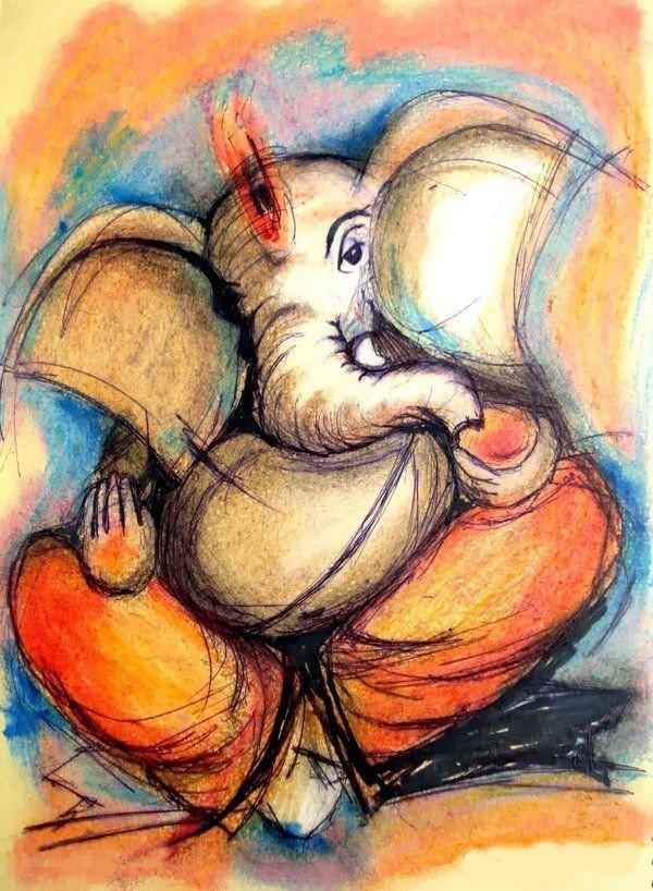 ganesha paintings on canvas   Ganesha knife painting