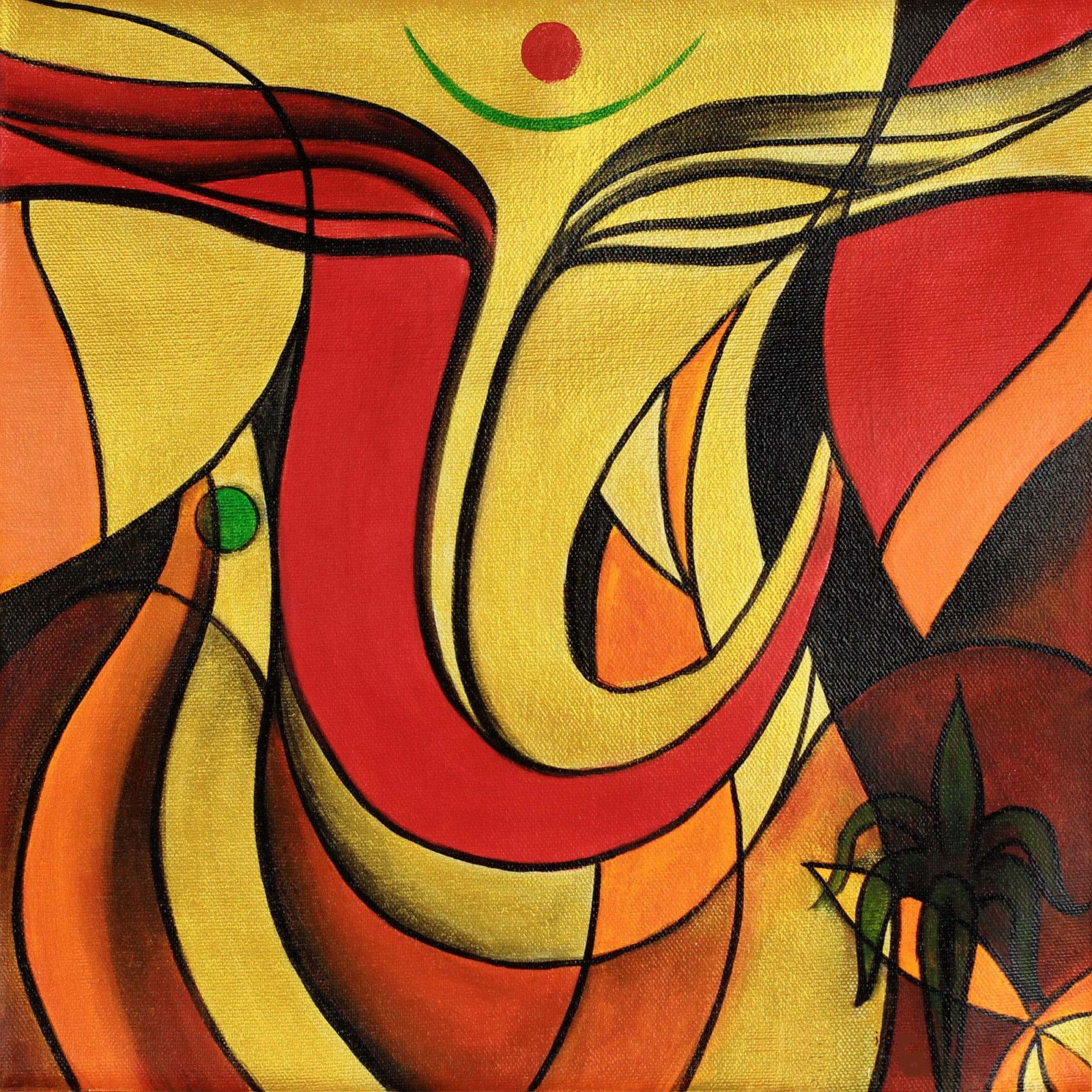 Buy Ganesha oil paintings on canvas online | abstract ...
